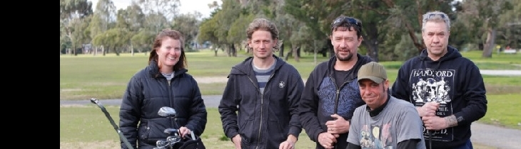 Participants in Tasmania ready to play a game of golf